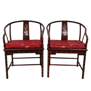 1900s Chinese Horseshoe Back Armchairs - a Pair For Sale