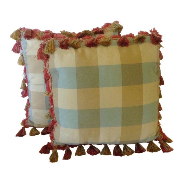 Plaid Pillows With Tassels - A Pair For Sale