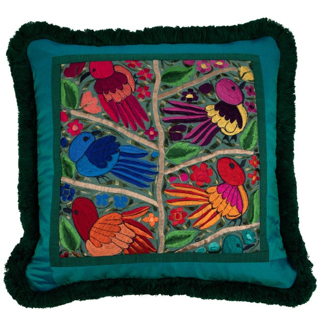 2010s Modern Embroidered Bird & Flower Pillow For Sale - Image 5 of 5