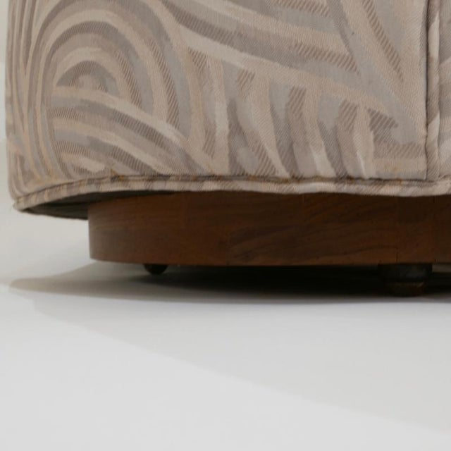 Art Deco Art Deco Round Club or Tub Chairs With Walnut Plinth Base on Brass Casters, Pair For Sale - Image 3 of 9