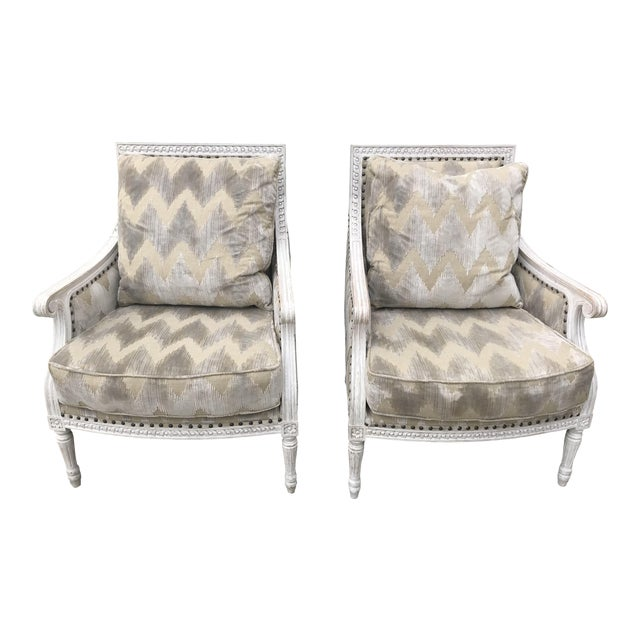 Modern Aerin Lauder Upholstery French Country Armchairs A Pair