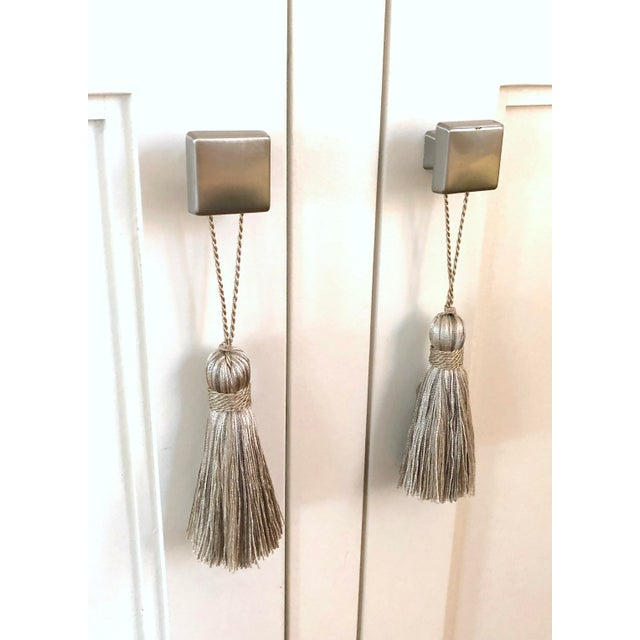 Textile Petite Natural Color Tassels - a Pair For Sale - Image 7 of 10