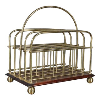 1980s Hollywood Regency Brass and Wood Magazine Rack For Sale