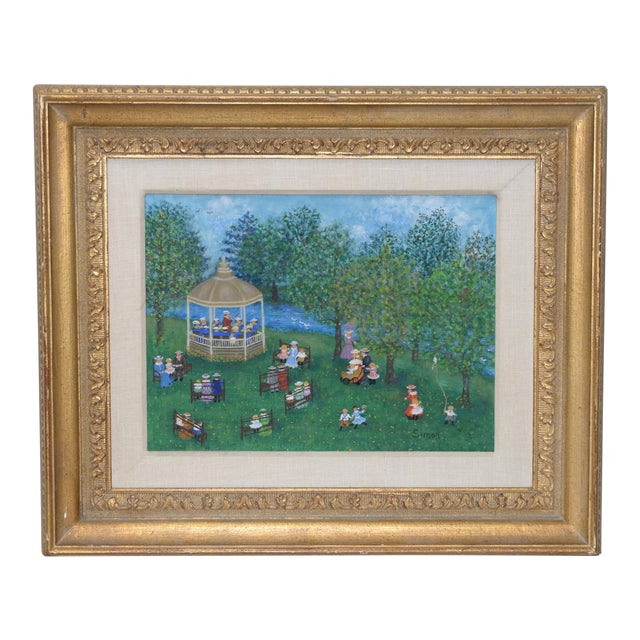 """Mollie Simon """"Bandstand in the Park"""" Vintage Folk Art Painting C.1960s For Sale"""
