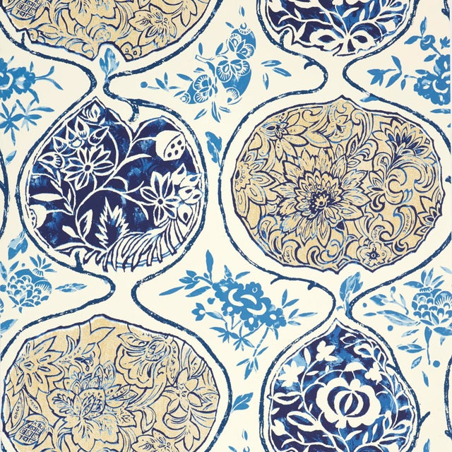 Contemporary Sample - Schumacher Katsugi Wallpaper in Blues For Sale - Image 3 of 3