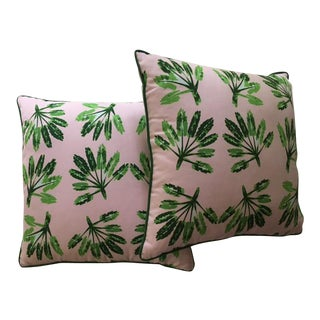 A Pair of Pink & Green Palm Print Pillows For Sale