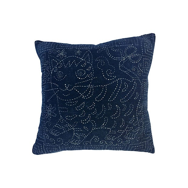 Antique Indigo Embroidered Cat Pillow - Image 1 of 5