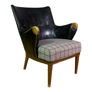 1950s Danish Black Leather Armchair For Sale