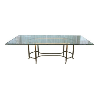 Italian Brass & Glass Dining Table