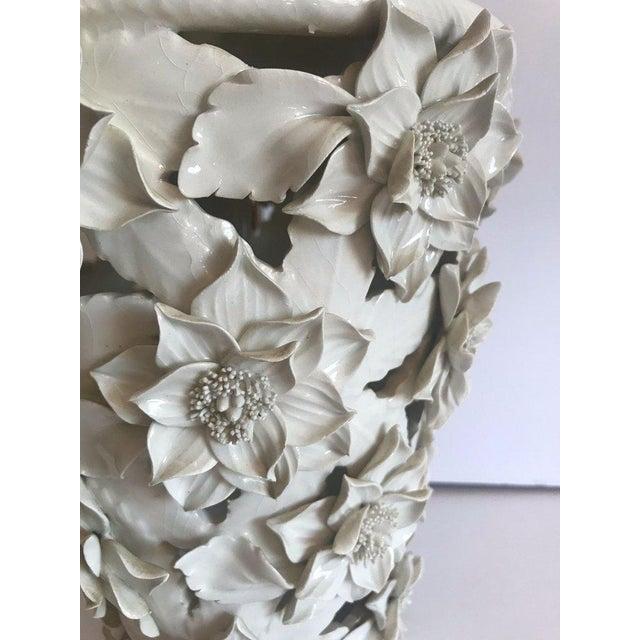 White 1960's Italian Blanc De Chine Floral Ceramic Pendant Lights For Sale - Image 8 of 13