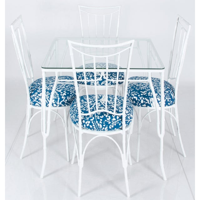 Blue Chinoiserie White Powder-Coated Metal Faux Bamboo Dining Set For Sale - Image 8 of 8