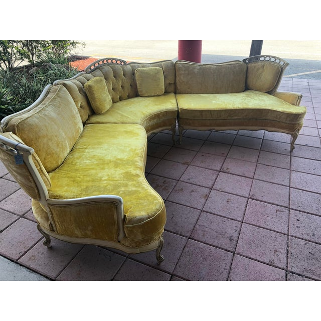 1950s Hollywood Regency Yellow Velvet Italian Sectional For Sale - Image 5 of 8