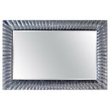 Image of 1960s Vintage Italian Mid Century Modern Textured Clear Murano Glass Framed Wall Mirror For Sale