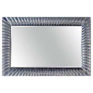 1960s Vintage Italian Mid Century Modern Textured Clear Murano Glass Framed Wall Mirror For Sale