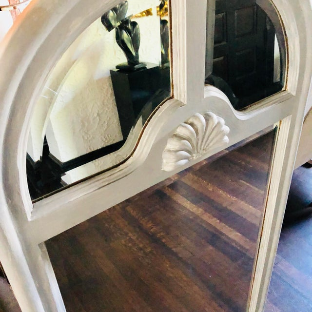 Georgian style heavy solid wood gray painted beveled wall mirror.