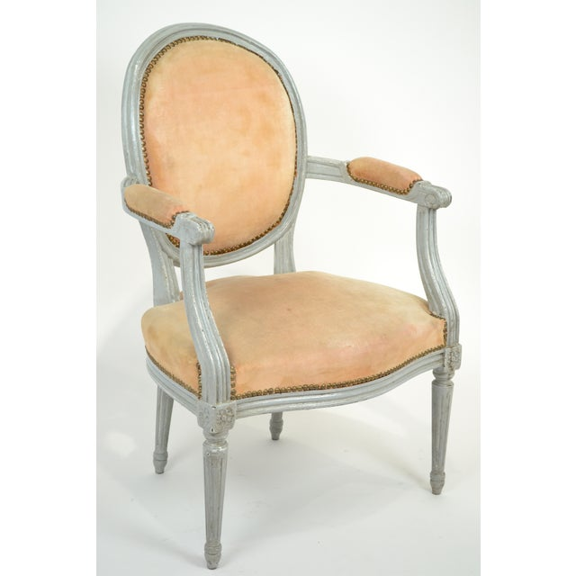 Louis XVI Gray-Blue Frame Armchairs - A Pair - Image 3 of 10