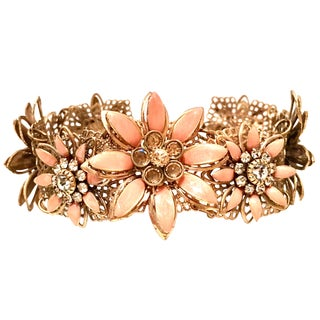 "20th Century Gold Enamel & Swarovski Crystal"" Flower"" By, Carolee For Sale"