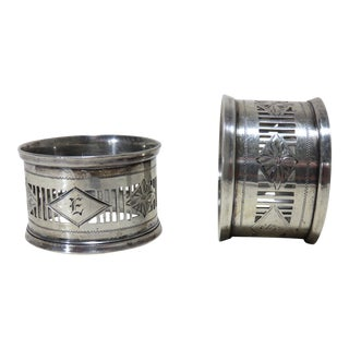 Antique Sterling Silver Napkin Rings - a Pair For Sale