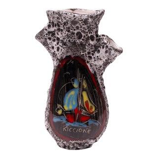 Mid-Century Italian Modern Riccione Fat Lava Ceramic and Enamel Vase For Sale