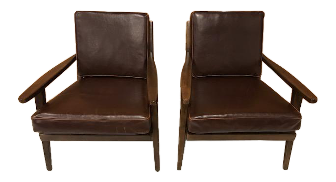 Brown Leather Mid Century World Market Lounge Chairs   A Pair