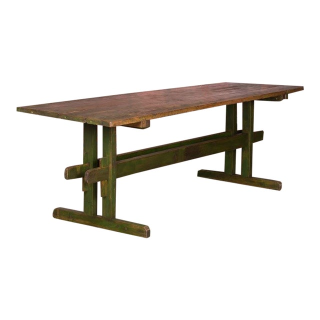 19th Century Rustic Green Painted Harvest/Farm Trestle Table For Sale