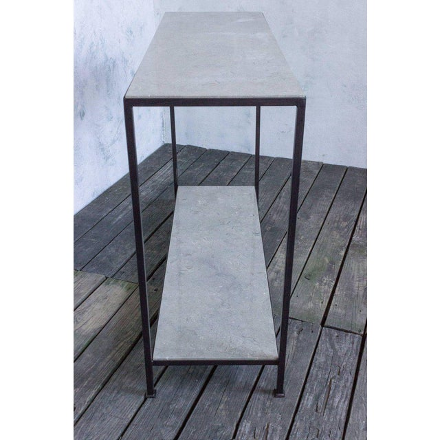 Iron Custom-made Marcelo Console Table With Pistachio-travertine Stone For Sale - Image 7 of 9