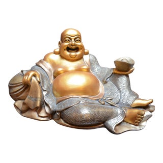 Laughing Sitting Gold Buddha Hotei Statue For Sale