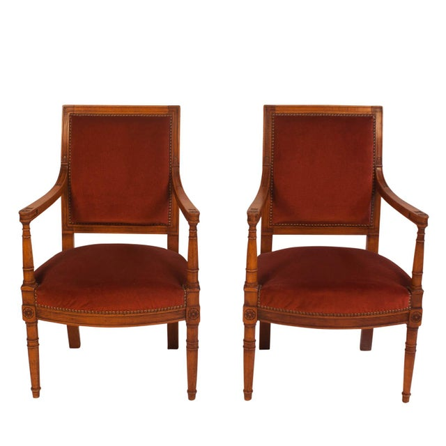 19th Century Louis XVI Style Armchairs - a Pair For Sale In San Francisco - Image 6 of 6