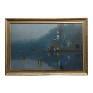 "Amelie Burdin 19th Century French ""Night Time at the Marina"" Oil Painting C. 1880s For Sale"