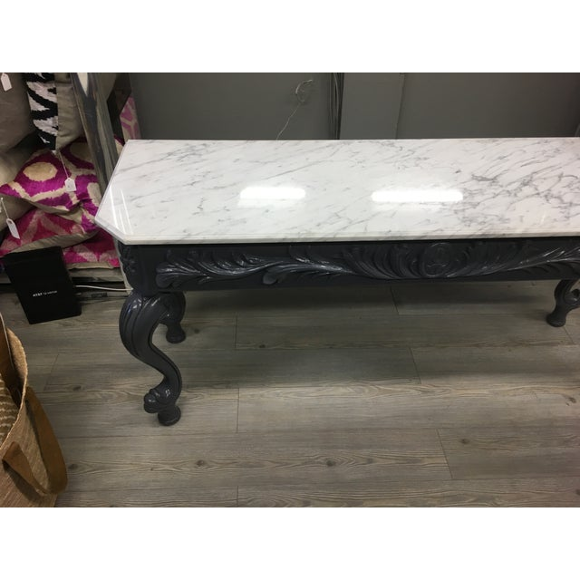 Vintage Grey Lacquered & Marble Top Console For Sale - Image 10 of 11