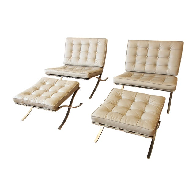 Van Der Rohe Barcelona Chairs & Ottomans -Set of 4 - Image 1 of 11