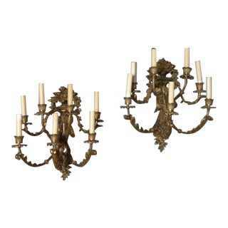 19th Century Antique Electrified Seven Candle Bronze Sconces - a Pair For Sale