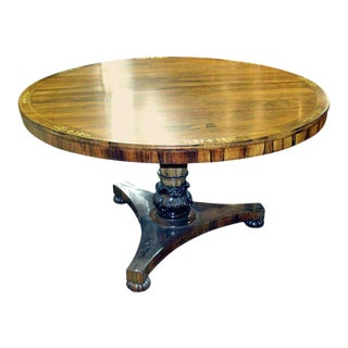 Regency Calamander Breakfast or Center Table With Brass Inlay For Sale