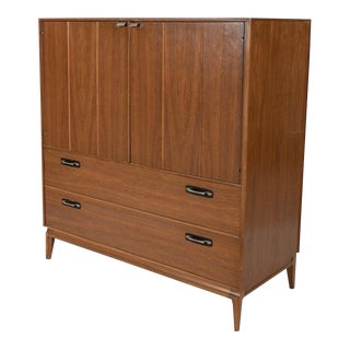 Walnut Chifferobe With Fitted Drawers and Leather Escutcheons