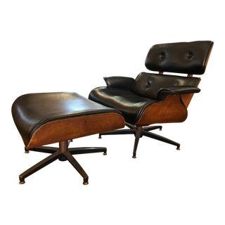 1960s Charlton Eames Style Lounge Chair & Ottoman