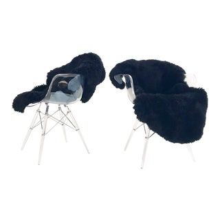 Mid-Century Style Lucite Chairs with Black Brazilian Sheepskin Throws - Pair For Sale