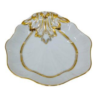 Antique Gilded Porcelain Dish For Sale