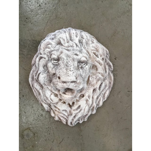Hollywood Regency Antique Terra Cotta Lion Head Wall Fountain For Sale - Image 3 of 4