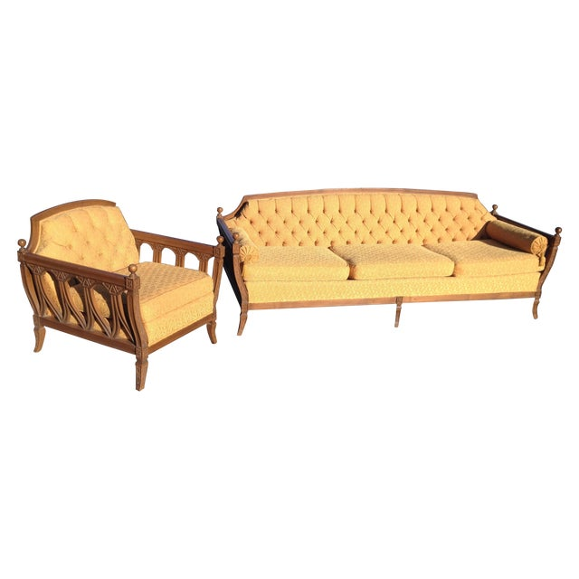 Mid-Century Hausske-Harlen Tufted Sofa & Chair Set For Sale