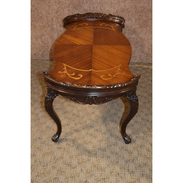 French Vintage French Style Carved & Inlaid Petite Cocktail Table For Sale - Image 3 of 11