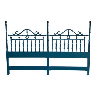 Teal Lacquered Faux Bamboo Headboard, King Size For Sale