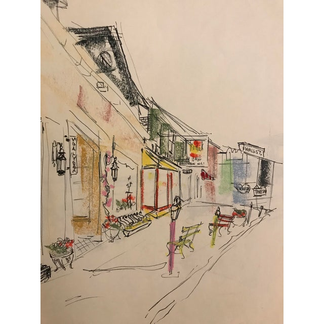 This is a sketch by an unknown artist. The piece depicts downtown Asheville, North Carolina. Removed from a spiral bound...