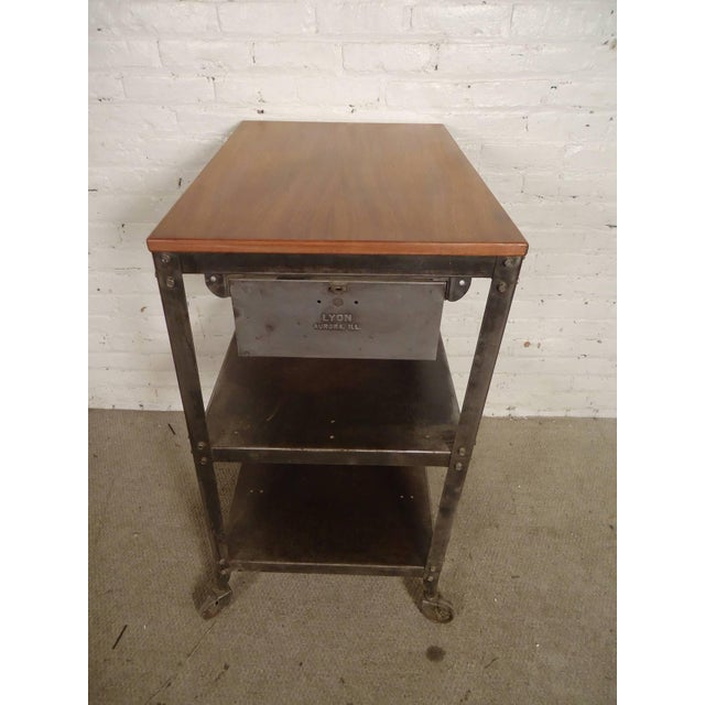 Rolling Industrial Cart By Lyon Co. w/ Finished Teak Top For Sale - Image 4 of 6