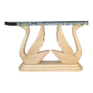 1980s Art Deco Revival Style Swan Console Table For Sale