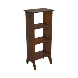 Mission Oak Antique Arts & Crafts Small Open Bookcase Stand For Sale