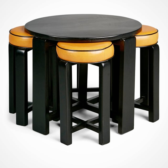 Art Deco 1940s French Art Deco Cocktail Nesting Table and Leather Stools Set For Sale - Image 3 of 11