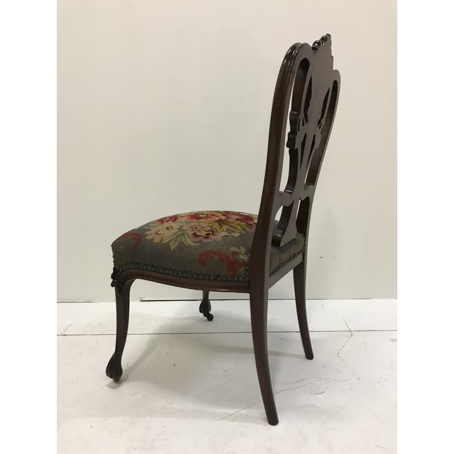 Late 19th Century 19th Century Art Nouveau Mahogany Side Desk Vanity Chair Attributed to Louis Marjorelle For Sale - Image 5 of 13
