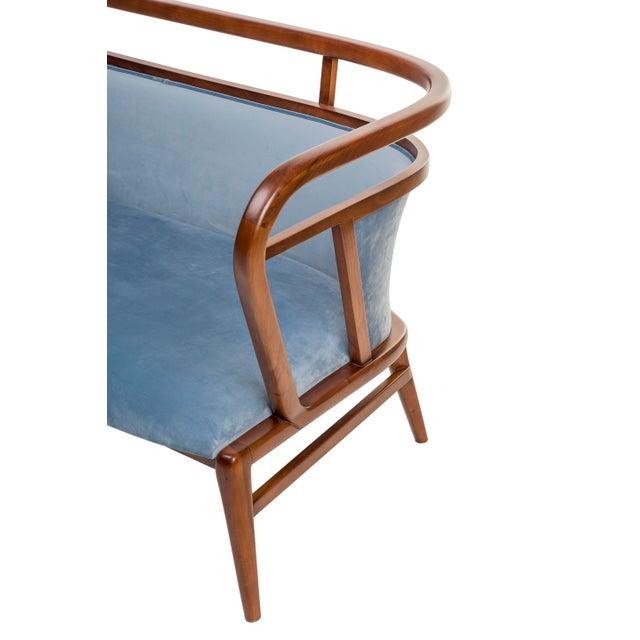 Contemporary Mid Century Style Scandinavian Modern Walnut Sofa For Sale - Image 4 of 7