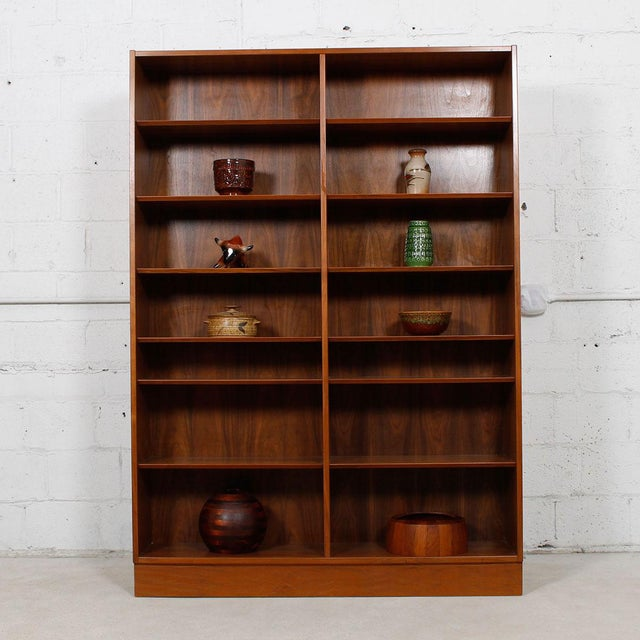 Danish Modern Double Bookcase with Adjustable Shelves in Walnut - Image 3 of 7