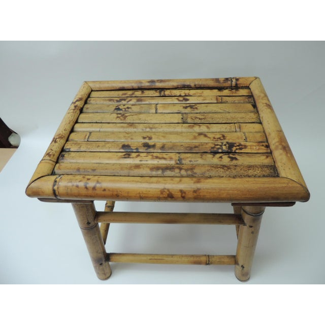 Bamboo Vintage Bamboo Faux Tortoise Artisanal Small Telephone Table For Sale - Image 7 of 7